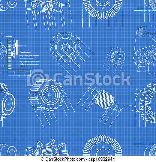 Vector illustration of blueprint gears seamless pattern eps vector blueprint gears seamless csp16332944 malvernweather Image collections