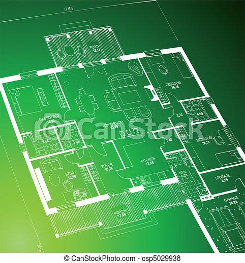 blueprint, green., vetorial - csp5029938
