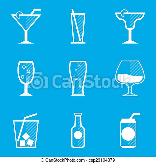 Blueprint icon set drink cocktail vector illustration in blueprint icon set drink cocktail csp23104379 malvernweather Gallery