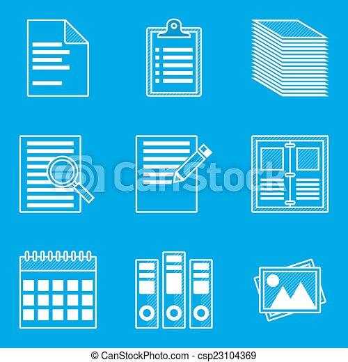 Blueprint icon set paper vector illustration in eps10 clip art blueprint icon set paper csp23104369 malvernweather Gallery