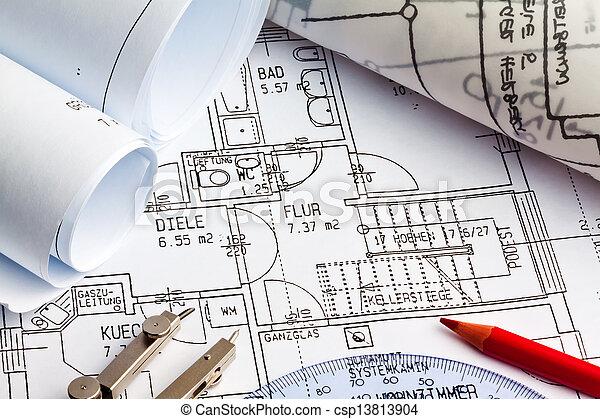 blueprint of a house. construction - csp13813904