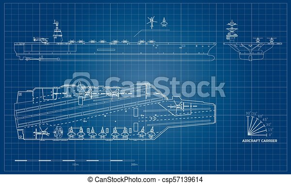 Blueprint of aircraft carrier military ship top front and blueprint of aircraft carrier military ship top front and side view battleship malvernweather Choice Image