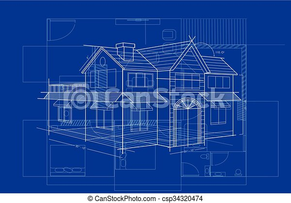 Easy to edit vector illustration of blueprint of building vectors blueprint of building csp34320474 malvernweather Images