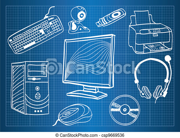 Blueprint of computer hardware peripheral devices sketch blueprint of computer hardware peripheral devices vector malvernweather Choice Image