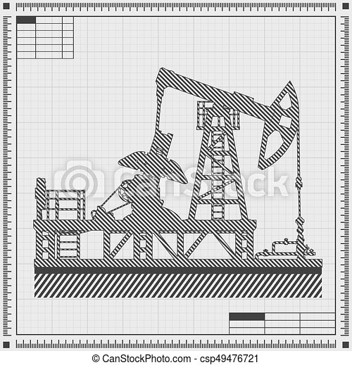Blueprint of oil pump silhouette detail vector vector blueprint of oil pump csp49476721 malvernweather Choice Image