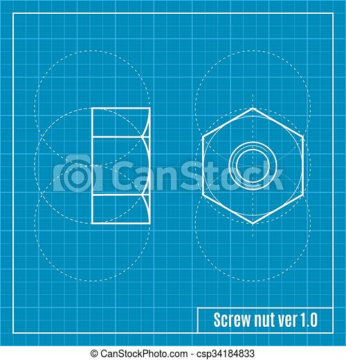 Blueprint of screw vector illustration blueprint of screw csp34184833 malvernweather Choice Image