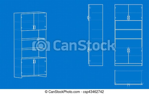 Blueprint Office Cabinet Blue Background With Grid Vector