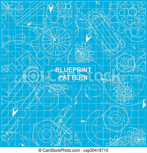 Set of four blueprint patterns with gears vector clip art search blueprint pattern csp30418710 malvernweather Gallery