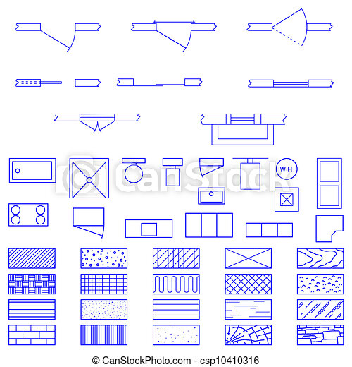 Blueprint symbols vector complete set of blueprint icons and blueprint symbols vector malvernweather Gallery