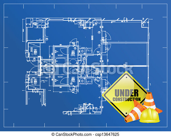 Blueprint under construction illustration design over a vector blueprint under construction csp13647625 malvernweather Choice Image