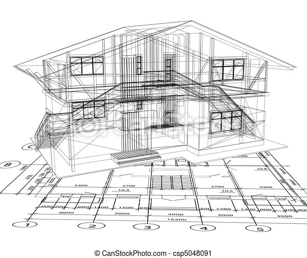 blueprint, vetorial, house., arquitetura - csp5048091