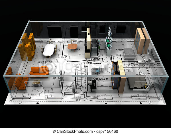 Blueprint with furniture stock illustration search clipart blueprint with furniture malvernweather Images