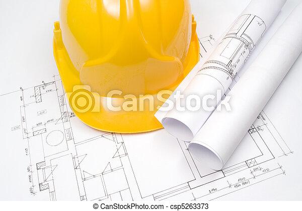 Blueprints and helmet - csp5263373