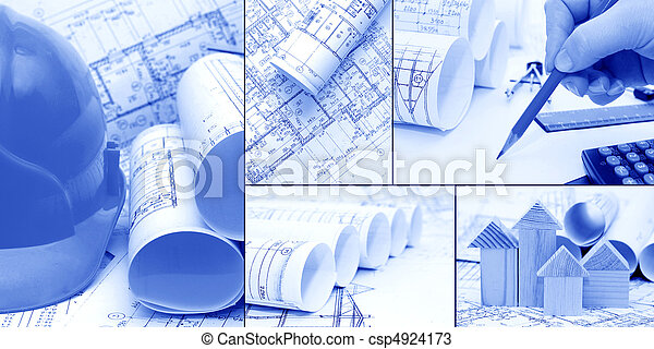 blueprints, construction - a collage as the concept of construction  - csp4924173