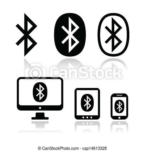 Bluetooth Connection Vector Icons S Connection Via Bluetooth On Computer Tablet Mobile Or Cell Phone Icons Isolated On