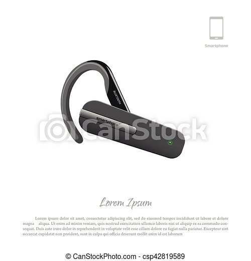 Bluetooth Headset Cell Phone Accessories Vector Illustration