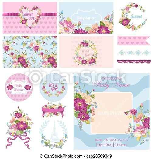 Blume, -, dusche, thema, vektor, design, baby, sammelalbum, elemente.