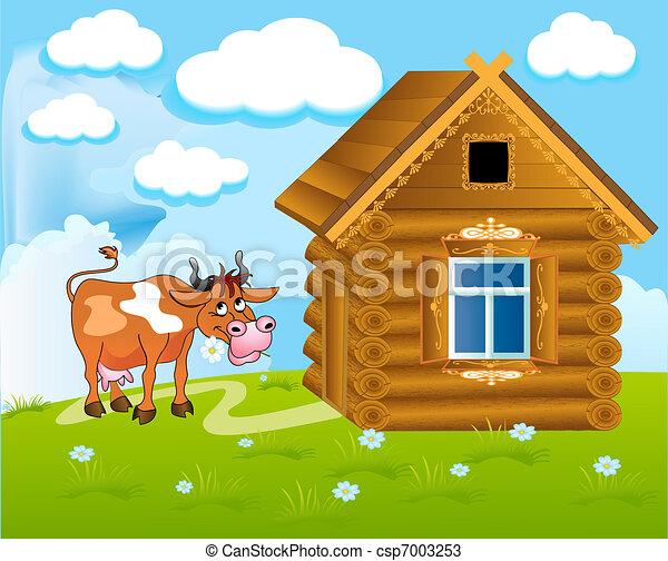 Frohe Kuh mit Blumen - csp7003253