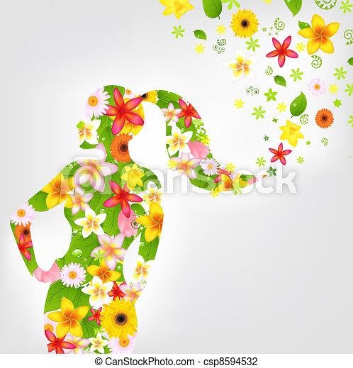 Frau und Blume - csp8594532