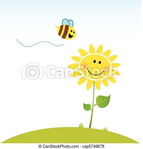 Fröhliche Frühlingsblume mit Bienen - csp5749878
