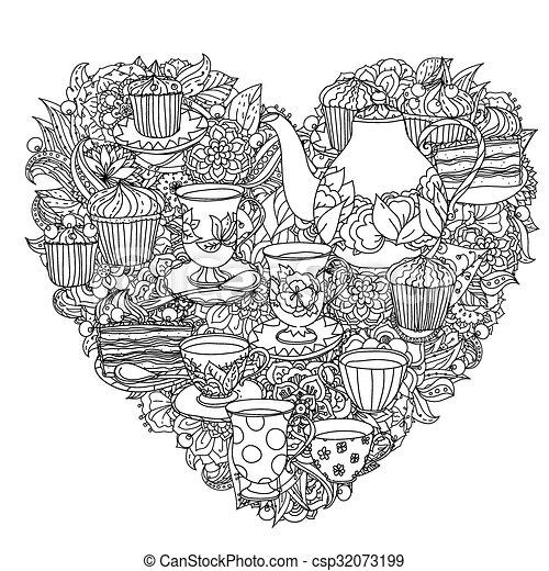 Handzeichnung zentangle Element. Schwarz und weiß. Blumen Mandala. - csp32073199