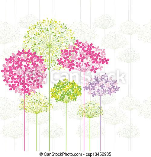 Frühlingsfarbene Blume auf Dandelion Hintergrund - csp13452935