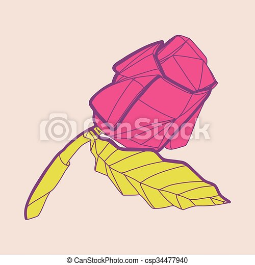 Blume Rose Abstrakt Abbildung Origami Rotes Dekor Flower