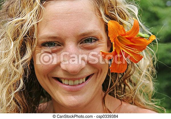 blume, sie, hinten, orange, m�dchen, ohr - csp0339384