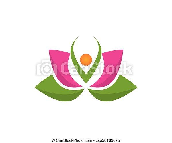 Blume Wohlfühlen Lotos Yoga Zeichen Vektor Spa Blume