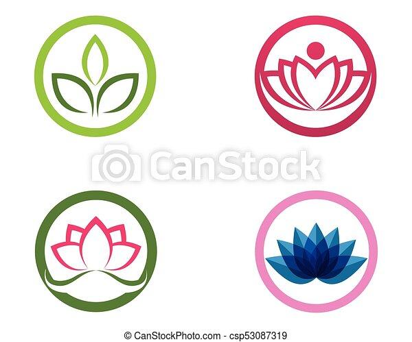 Blume Wohlfühlen Lotos Yoga Abbildung Zeichen Vektor Spa