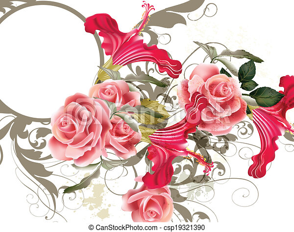 Modevektormuster mit Blume - csp19321390