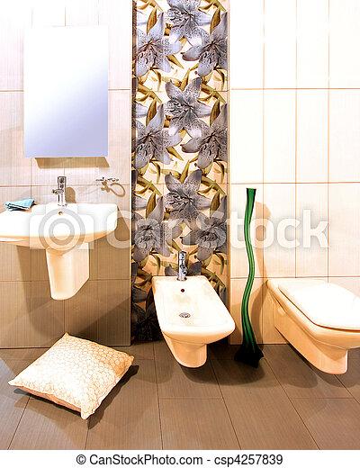 Blumen-, badezimmer. Toilette, fliesenmuster, kugel, blumen ...