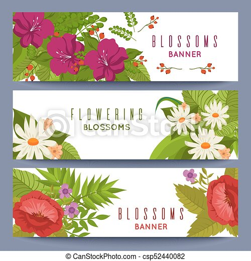Blumen-, banner, blumen, schablone, bunte. Satz, bunte, abbildung ...