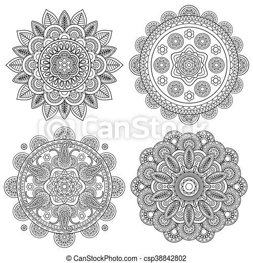 Blumen Boho Satz Indische Mandalas
