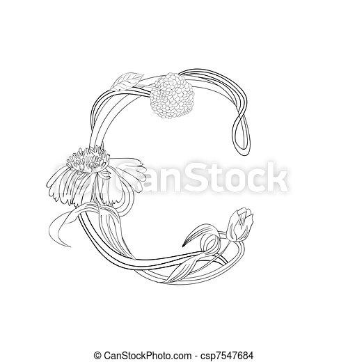 Floral Schriftart, Buchstabe C - csp7547684