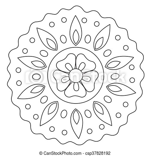 Blumen-, färbung, mandala, welle. Färbung, einfache , welle,... EPS ...