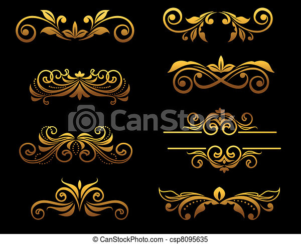 blumen-, goldenes, ränder, elemente, weinlese - csp8095635