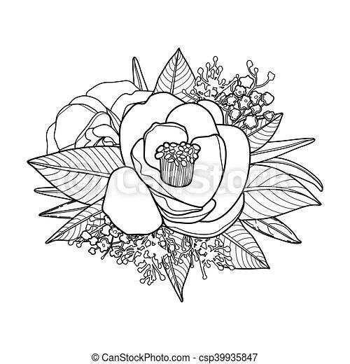 Blumen-, grafik, vignette. Vektor, reizend, färbung, erwachsene ...