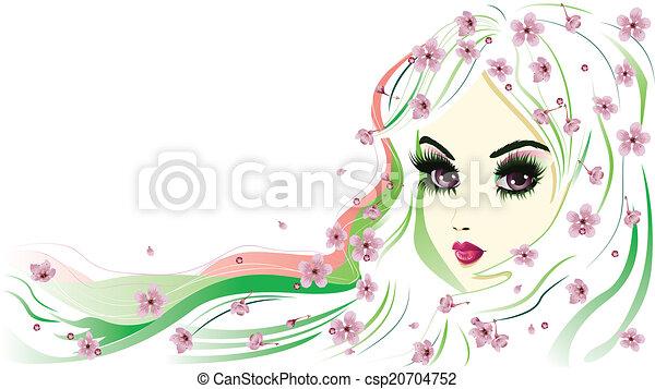 Blumen-, haar, m�dchen, weißes. Rosa, abstrakt, haar,... Clipart ...