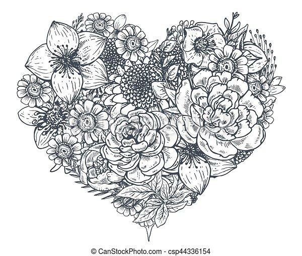 blumen heart blumengebinde hand blumen gezeichnet plants valentine skizze blumen. Black Bedroom Furniture Sets. Home Design Ideas