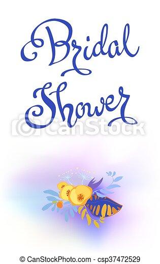 Blumen-, kalligraphie, karte. Blaues, aquarell, stil, blumen ...