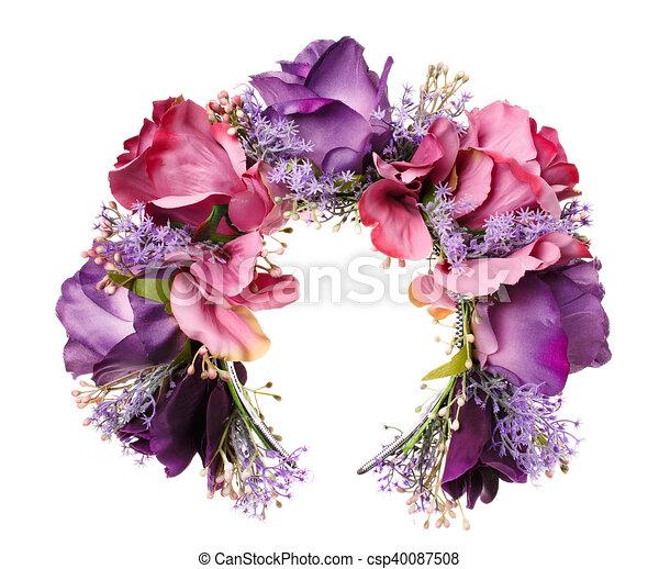 Blumen, kopf, band, haar, dekoration, holz, violett, weißes ...
