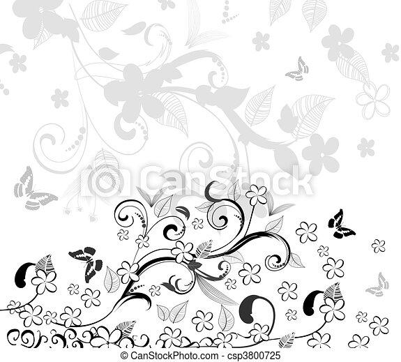 blumen muster, abstrakt - csp3800725