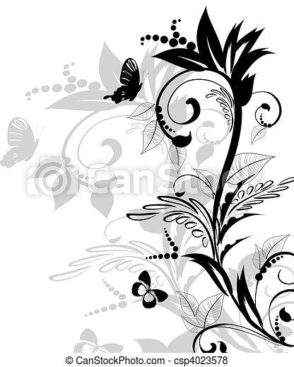 blumen muster, abstrakt - csp4023578