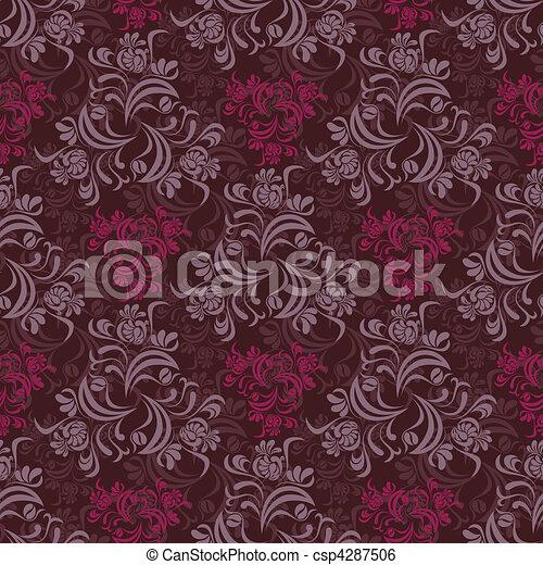 blumen muster, abstrakt, seamless - csp4287506