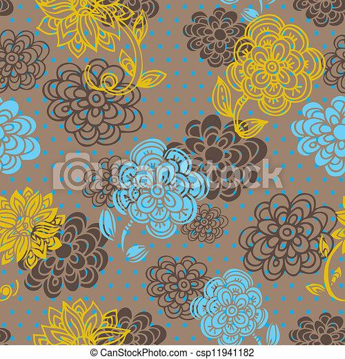 blumen muster, stil, seamless, retro - csp11941182