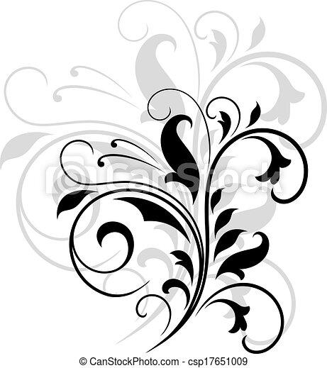 Wirbelnde Blumenmuster - csp17651009