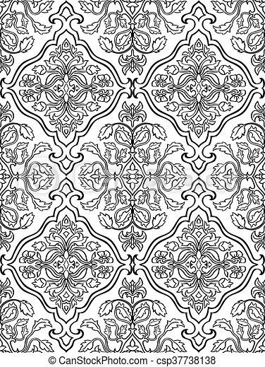 Orientalisch Blumenschmuck Vorlagen Fur Teppiche Textilien Tapeten Und Jede Oberflache Nahtlose Vektormuster Schwarzer