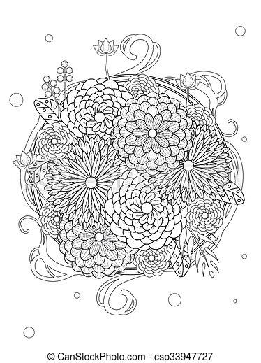 Blumen-, reizend, färbung, seite. Färbung, blumen-, linie,... Vektor ...