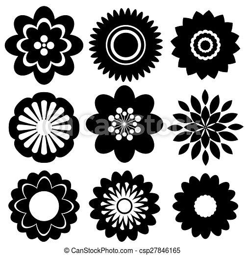 Blumen-, schablonen, satz. Schablonen, satz, farbe,... Clipart ...